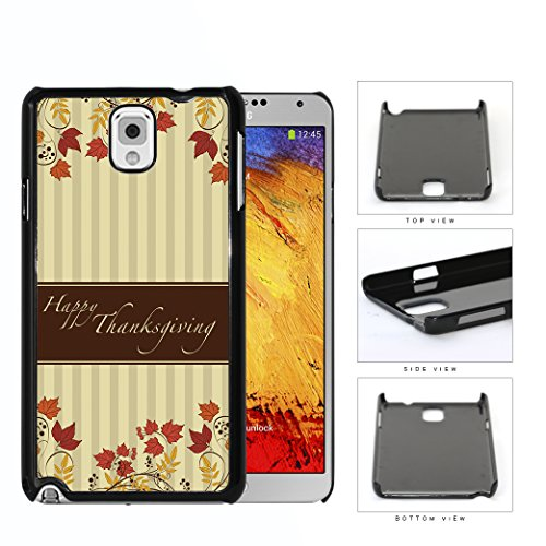 Snap Beige Stripes (Happy Thanksgiving with Fall Leaves and Beige Vertical Lines Background NUE Designs Hard Plastic Snap On Cell Phone Case Samsung Galaxy Note 3 III N9000 N9002 N9005)