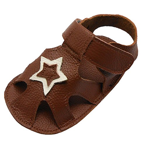 Sayoyo Baby Boy Girl Genuine Leather Soft Sole Sandals Summer Prewalker Toddler Shoes Brown 12-18 Months (Sandals Pre Walker)