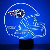 Mirror Magic Store Tennessee Titans Football Helmet LED Night Light with Free Personalization - Night Lamp - Table Lamp - Featuring Licensed Decal