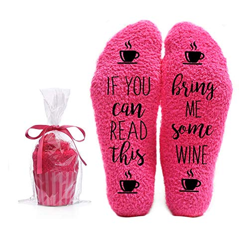 Bring Me Wine Fuzzy Pink Socks - Novelty Cupcake Packaging for Her - Birthday Gift Idea for Women, Mom, Wife, Sister, Friend, Aunt or Grandma - 1 Pair Christmas Stocking Stuffers (Good Best Friend Christmas Gift Ideas)