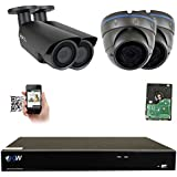 GW 8 Channel H.265 4K 8MP NVR Security System with 2 x 5MP 1920p Dome Camera and 2 x 5MP 1920p Bullet Camera - 2.8~12mm Varifocal lens Outdoor/Indoor Surveillance IP PoE Camera, 2TB Hard Drive