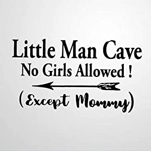 Little Man Cave No Girls Allowed Vinyl Wall Decal, Boys Room,Mom Inspirational Quotes Stickers Motivational Wall Art Sticker Wall Mural Home Decor for Kids Room Bedroom Living Room