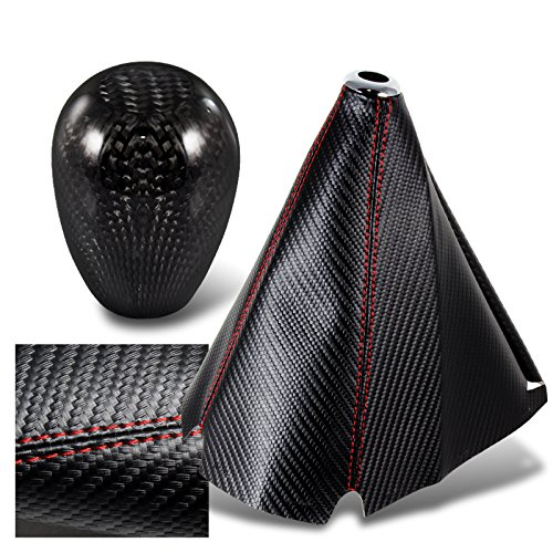 (HK5 JDM Carbon Style Red Stitch Manual Shift Boot + T-R Carbon Fiber Shifter Knob )