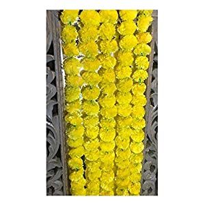 5 pack Artificial Yellow Marigold flower garlands/strings 5 ft long- for use in parties, celebrations, Indian weddings, Indian themed event, decorations, house warming, photo prop, Diwali, Ganesh Fest 3