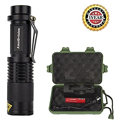 Flashlight, Amz vision Brightest T6 LED Flashlight Torch, 5 Modes, Adjustable Focus Zoomable Tactical Flashlight from Amz vision