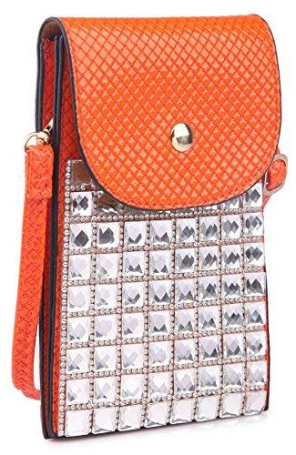 Cristal LxH Bourse cm Téléphone Pochette Rose Messager Cellulaire Bandoulière 11x17 Place BHBS Femmes TP65pp
