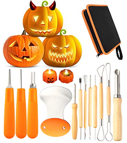 12 Pieces Professional Pumpkin Carving Tool Kit Heavy Duty...