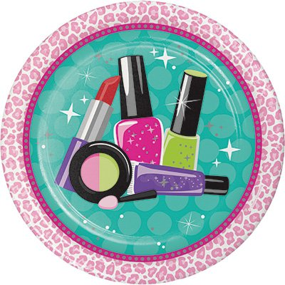 Teen Sparkle Spa Happy Birthday Theme Plates and Napkins Serves 16 With Birthday Candles
