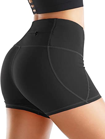 Rocorose Womens Yoga Shorts Tummy Control 4 Way Stretch High Waist Workout Running Shorts with Pockets