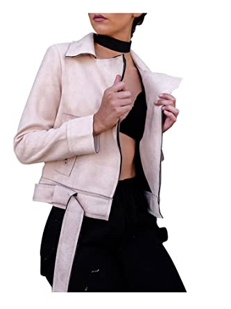 Simplee Apparel Damen Jacke Elegant Wildleder Suede Kurz Jacket Outwear mit Gürtel