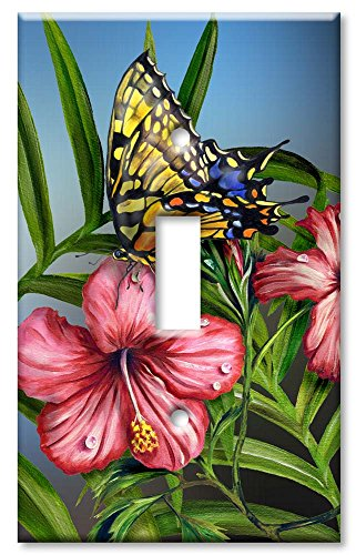 Art Plates - Yellow Butterfly Switch Plate - Single Toggle