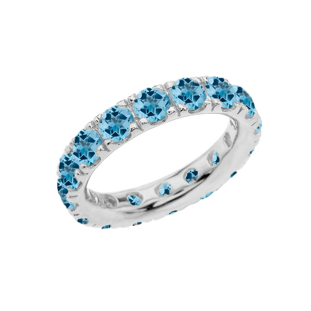 Sterling Silver 4mm December Birthstone Cubic Zirconia Comfort Fit Eternity Band (Size 4)