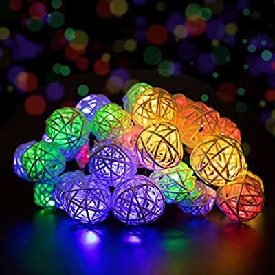 Solar Powered String Lights, Decornova 19.7 feet 30 LEDs Solar Rattan Ball LED Party String Lights for Patio with IP44 Solar Panel, 2 Modes, Warm White