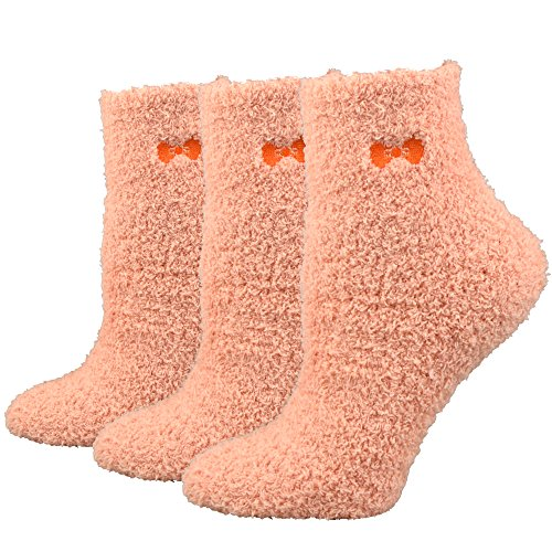 Fitu Women's Super Soft Warm Cozy Winter Fuzzy Socks 3 Pairs Pack (Light Salmon)One Size Light - Light Fuzzy