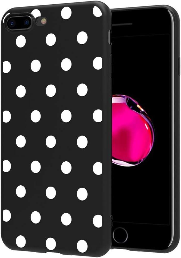 ZhuoFan Funda iPhone 8 Plus, iPhone 7 Plus Cárcasa Silicona Ultrafina Negra con Dibujos Diseño TPU Antigolpes de Protector Piel Case Cover Bumper Fundas para Movil Apple 8Plus / 7Plus, Lunares Blanc