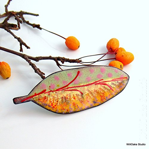 Copper Enameled Big Leaf Art Brooch, Yellow Red and Pink Vitreous Enamel (Enameled Leaf Pin)