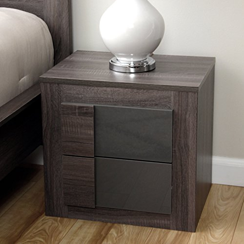 Simple Living - Maya Night Stand Furniture with 2 Drawers Featuring a Classic Dark Sonoma Oak with Uv High-gloss Grey (For - Mirror Grey Dark