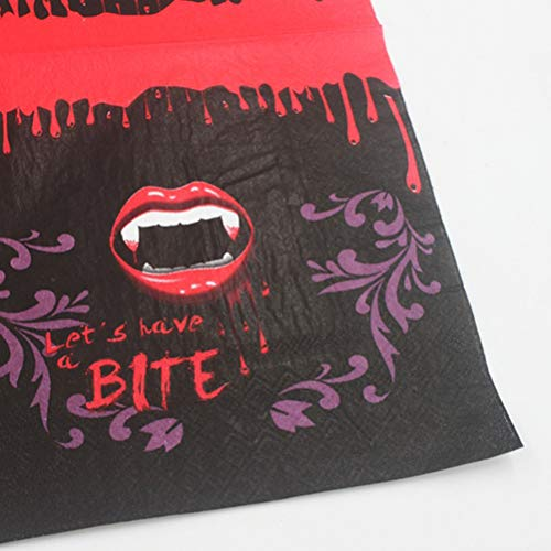 Amosfun 100pcs Halloween Printed Napkins Disposable Tissue Bloody Red Lip Teeth Pattern Theme Party Napkins Supplies by Amosfun (Image #6)