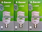 Pack of 3, E-Saver CFL Full Spiral, 20w = 100watt, Cool White 4200k, Compact Fluorescent Lamp, Bayonet Cap (BC, B22, B22d) 1150 Lumen, T2, 80%-85% Energy Saving Light Bulb, Flicker Free, 10,000 Hours Life Time