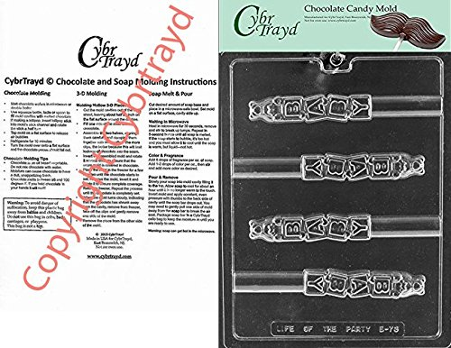Cybrtrayd Life of the Party B073 Baby Block Pretzel Chocolate Candy Mold in Sealed Protective Poly Bag Imprinted with Copyrighted Cybrtrayd Molding Instructions