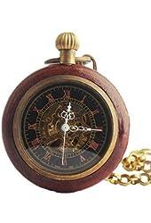 Roman Copper Wood Ring Hollow Mechanical Pocket Watch Fob Steampunk Open Face Design for Men Women