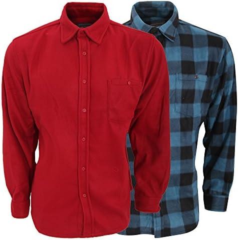 Pack de 2 camisas afelpadas de manga larga Diseño lisa/cuadros hombre caballero