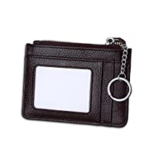 MuLier Genuine Leather Womens Slim Zipper Credit Card Holder Wallet RFID Mini ID Case with Key Ring (Red)