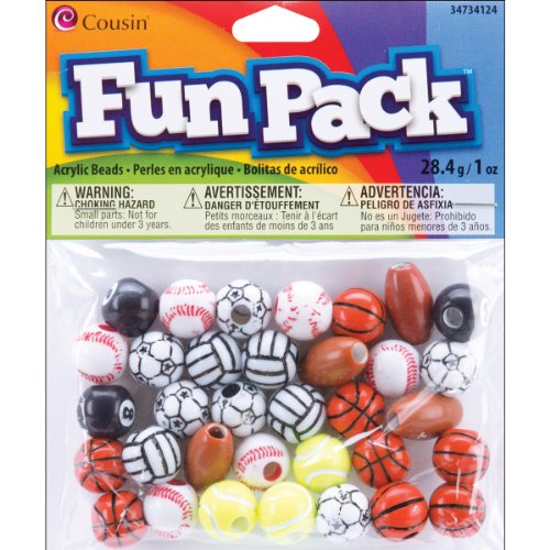 Cousin 34734124 Fun Packs 1-Ounce Bag Assorted Sports Beads