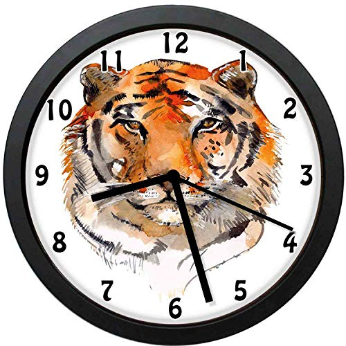Akalidebaih Feline Animal with Calming Stare Hand Drawn WatercolorExotic Wildcat Hunter-Decorative Wall Clock,12inch-The Best Gift
