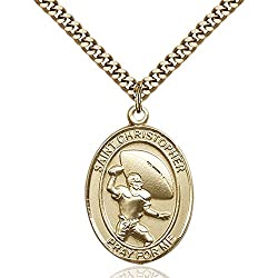 Gold Filled St. Christpher Football Pendant 1 X 34 Inches With Heavy Curb Chain