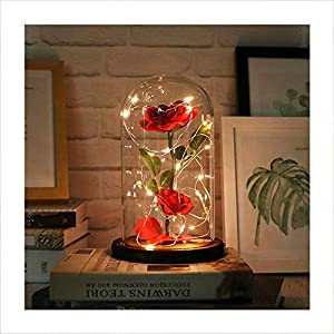 "Autoday Beauty and The Beast Preserved Fresh Rose Flower Light Fallen Petals in a Glass Romantic Wooden Base Valentine's Day Birthday Anniversary (5.75.79"", Warm Yellow) 40"