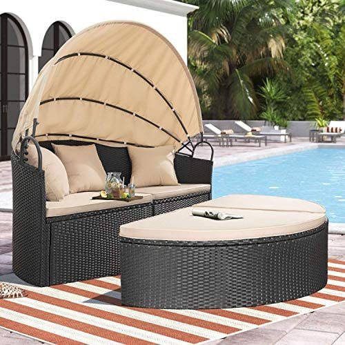 patio, lawn, garden, patio furniture, accessories, patio seating,  sofas 1 picture Homall Patio Furniture Outdoor Daybed with Retractable Canopy deals