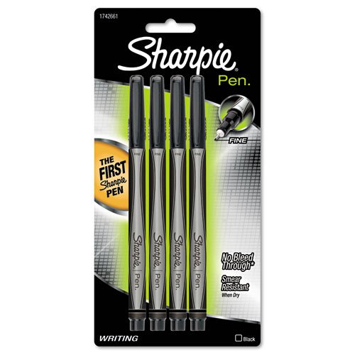 Ink Fine Point Pack - Sharpie - Plastic Point Stick Permanent Water Resistant Pen, Black Ink, Fine, 4 per Pack 1742661 (DMi PK