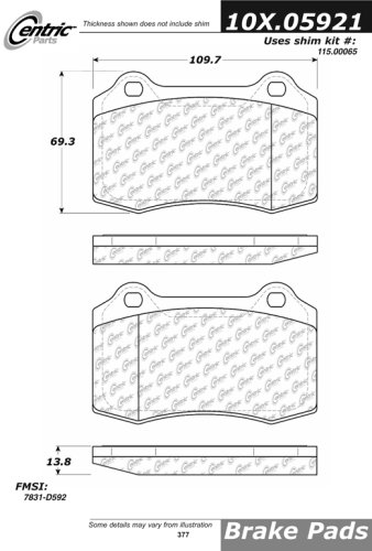 Centric Parts 100.05921 100 Series Brake Pad