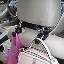 IPELY Universal Car Vehicle Back Seat Headrest Hanger Holder Hook for Bag Purse Cloth Grocery (Black -Set of 2)