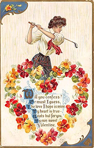 Golf, Valentines Day Postcard Woman Playing Golf unused