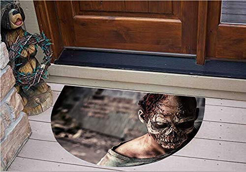 3D Semicircle Floor Stickers Personalized Floor Wall Sticker Decals,Ruined House with Creepy Look Murder Killing Scary,Kitchen Bathroom Tile Sticker Living Room Bedroom Kids Room Decor Art Mural D31.