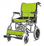 G&M Wheelchair Aluminum Lightweight Folding Elderly Handcart Portable Handicapped Wheelchair , green