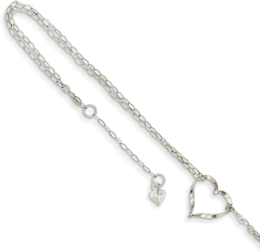 14k White Gold Double Strand Heart Anklet
