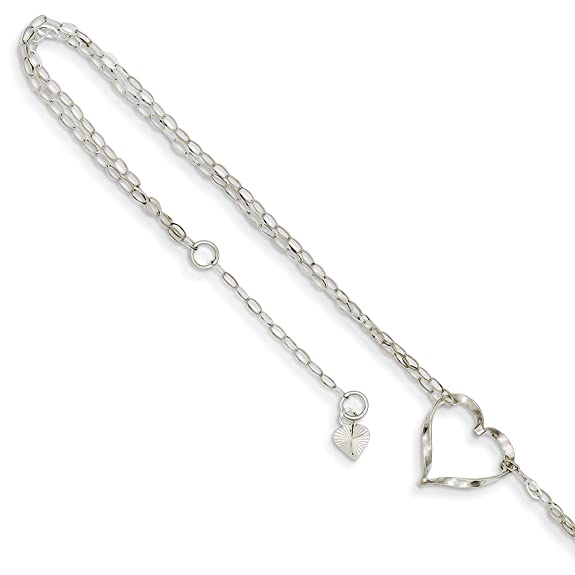 Black Bow Jewelry Sterling Silver Triple Open Heart Station Anklet