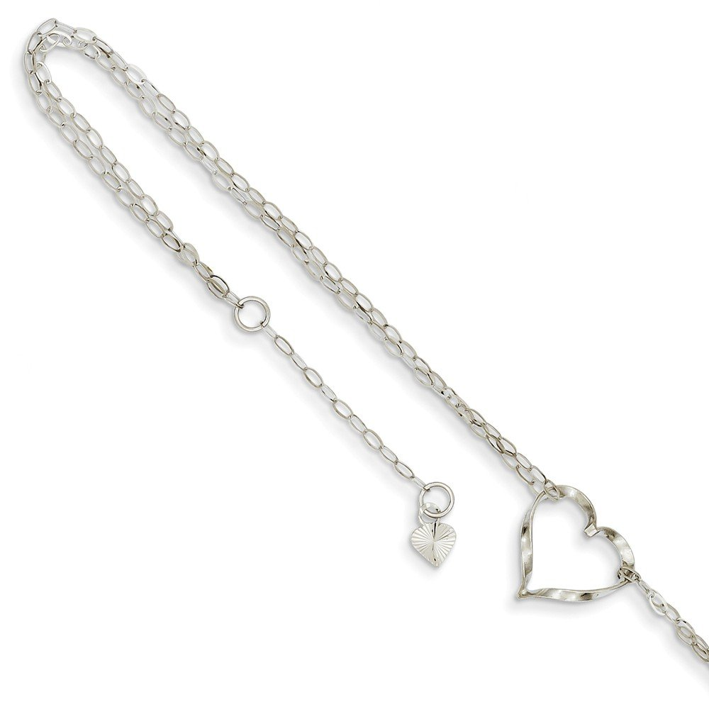 14k White Gold Double Strand Heart Anklet Goldia ANK174-9