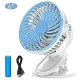 CASEETO Clip on Fan, Desktop Fan with Clip [USB Rechargeable & Battery Operated] [Powerful Wind & Low Noise] Baby Stroller Fan Laptop Fan Travel Fan Table Desk Fan 360° Vertical & Horizontal Rotation