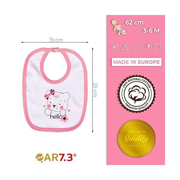 QAR7.3 Completo Vestiti Neonato 3-6 mesi - Set Regalo, Corredino da 5 pezzi: Body, Pigiama, Bavaglino e Cuffietta (Rosa… 5