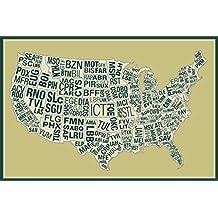 USA Airports Abbreviation Code Yellow Poster 12x18