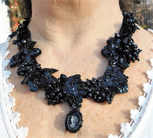 SALE Leaves Dangles Bib Necklace w/ Vintage French Jet Black Glass Victorian Revival Cameo Intaglios, Vintage Black Glass, Acrylic Flowers, -