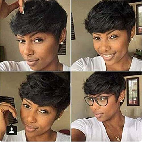 HOTKIS Short Human Hair Wigs for Women Layered Cut Short Bob Wigs Pure Hair (Layered Cut Bob)