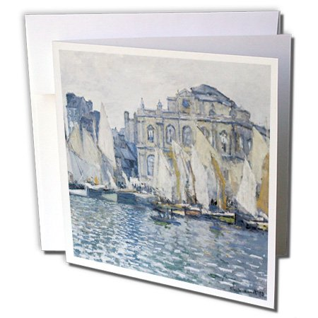 3dRose Le Havre Museum Monet Vintage with boats - Greeting Cards, 6 x 6 inches, set of 6 (gc_178905_1)