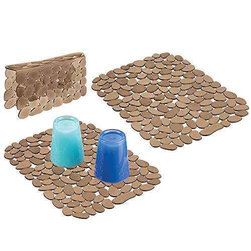 mDesign Adjustable Kitchen Sink Dish Drying Mat/Grid - Soft Plastic Sink Protector, Cushions Sinks, Dishes - Quick Draining Pebble Design - Includes 1 Saddle, 2 Large Mats - Set of 3 - Amber Brown