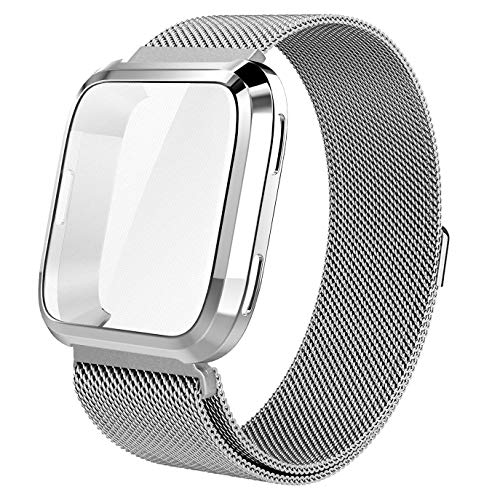 "for Fitbit Versa Accessory Band,Tomplus Scratch-Resistant Soft Flexible TPU Plated Protective case+Milanese Loop Stailess Steel Band for Fitbit Versa Smart Watch Women (Silver, Large 6.6""- 9.0"")"