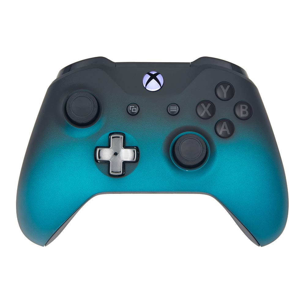Mineral Blue Shadow Wireless Controller Compatible Xbox One/Xbox One S Console - Features 3.5mm Headset Jack - Custom Chrome Steel Black D-pad - Grey on Black ABXY